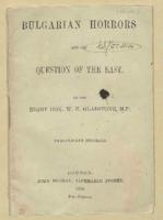 Bulgarian Horrors and the Question of the East' written by W. E. Gladstone, 1876