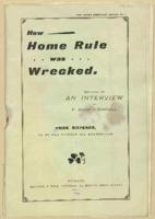 How Home Rule Was Wrecked' written by F. Hugh O ムDonnell, 1895