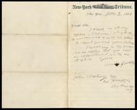 Letter from Horace Greeley to John O'Mahony, November 9, 1869