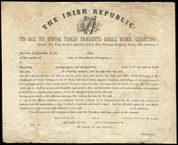 A blank form letter for the commission of a naval vessel of the Irish Republic