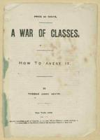A War of Classes' written by Thomas A. Devyr, 1878