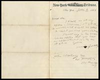 Letter from Horace Greeley to John O'Mahony, November 9, 1869