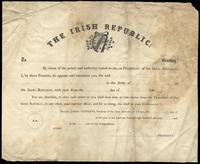 A blank form letter for commission in the Army of the Irish Republic