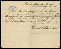 """Letter of Certification"" for Thomas Masterson written by Daniel Phelan, August 26, 1868"