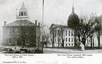 Old Court House and New Court House, Carlinville, IL (1910)
