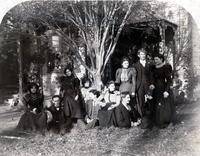 """""""Our Home"""": Group photograph, 1120 M St., Fresno, California (Thanksgiving, 1897)"""