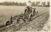 Man cultivating field