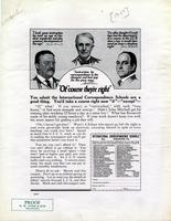 Advertisement of International Correspondence Schools: Images of John Mitchell, Theodore Roosevelt, and Thomas Edison