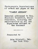 """Timely Message"": Photographic reproductions of covers and pages, New York City, New York (1908)"