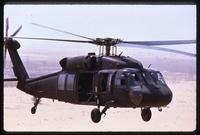 A Black Hawk helicopter in flight during the Gulf War, Saudi Arabia
