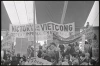 """""""Victory for the Viet Cong""""; Fight Nixon's Police State""""; Revolutionary Contingent banners under the counter-inaugural tent set up for a demonstration against Nixon's inauguration and the Vietnam War, 19 January 1969"""