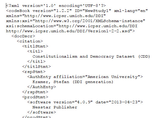 DDI metadata for Constitutionalism and Democracy Dataset (CDD)
