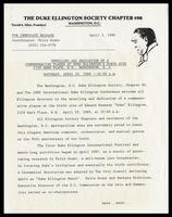 """Press release entitled """"Unveiling and Dedication of a Commemorative Plaque at Duke Ellington's Birth Site 2129 Ward Place, N.W., Washington, D.C., Saturday, April 29, 1989 -- 10:00 a.m.,"""" Washington D.C., April 3, 1989"""