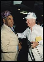 Dizzy Gillespie and Felix Grant at Dizzy Gillespie's 75th Birthday Diamond Jubilee aboard the MV Zenith, October 17 - 24, 1992