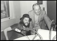 Chuck Mangione and Felix Grant at WMAL AM 63 studio, Washington, DC, 1981