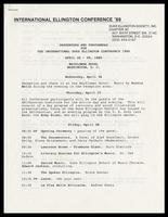 """Itinerary entitled """"Presenters and Performers for the International Duke Ellington Conference 1989, April 26-29, 1989,"""" Mayflower Hotel, Washington, D.C., March 16, 1989"""
