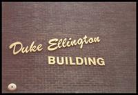 Gold lettering on The Duke Ellington Building, Washington, D.C., 1989