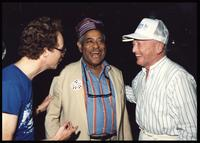 Dizzy Gillespie and Felix Grant at Dizzy Gillespie's 75th Birthday Diamond Jubilee aboard the MV Zenith, October 17 - 24, 1992