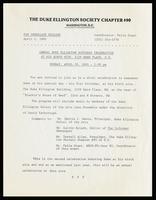 "Press release entitled ""Annual Duke Ellington Birthday Celebration at his Birth Site, 2129 Ward Place, N.W., Sunday, April 29, 1990 - 1:00 pm,"" Washington D.C., April 1, 1990"