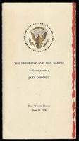 """Invitation entitled """"The President and Mrs. Carter welcome you to a Jazz Concert"""" at the White House from President Jimmy Carter to Felix Grant, Washington, D.C., June 18, 1978"""