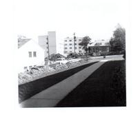Construction of Gerard Hall from across campus