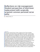 Reflections on risk management: Student perspective of total knee replacement with surgically acquired common peroneal nerve palsy