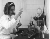 Peace Corps Volunteer Kay Burgi works in the lab at the Temuco Hospital, Temuco, Chile