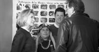 First Lady Hillary Clinton conversing with event attendees at the opening of the Internado Centro Cultural Mapuche in Temuco, Chile